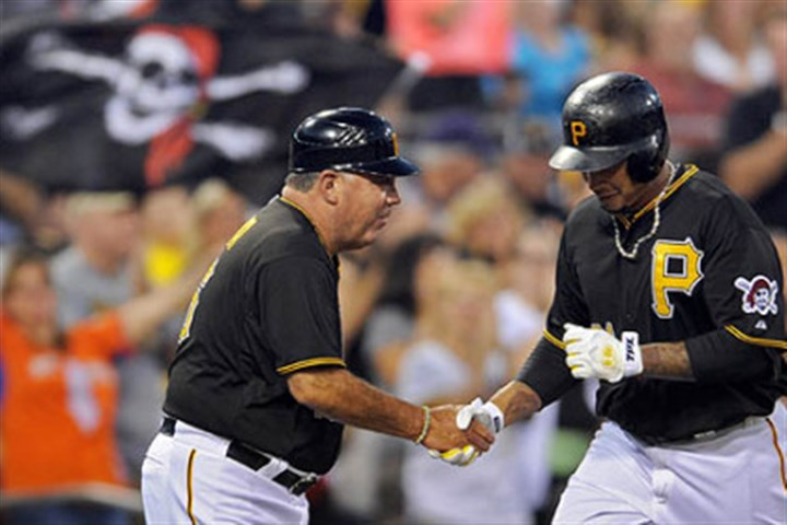 tabata Jose Tabata is congratulated by third base coach Nick Leyva after homering in the fourth inning Saturday at PNC Park, part of a 3-for-4 night at the plate for Tabata.