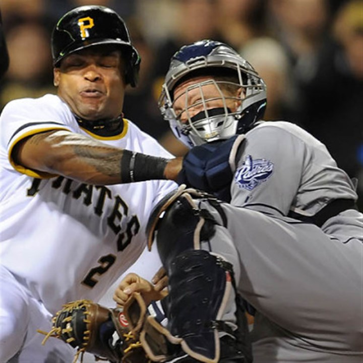 Tagged out Marlon Byrd is tagged out at home plate by Padres catcher Nick Hundley in the third inning at PNC Park Tuesday night.