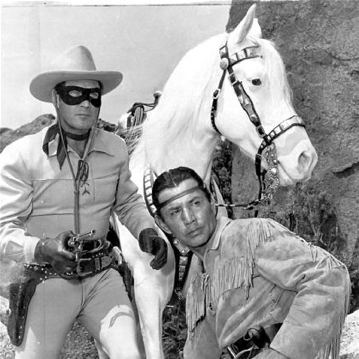 "'The Lone Ranger' Clayton Moore, left, as the Lone Ranger and Jay Silverheels as Tonto in the original television series of ""The Lone Ranger"" that ran from 1949-57."