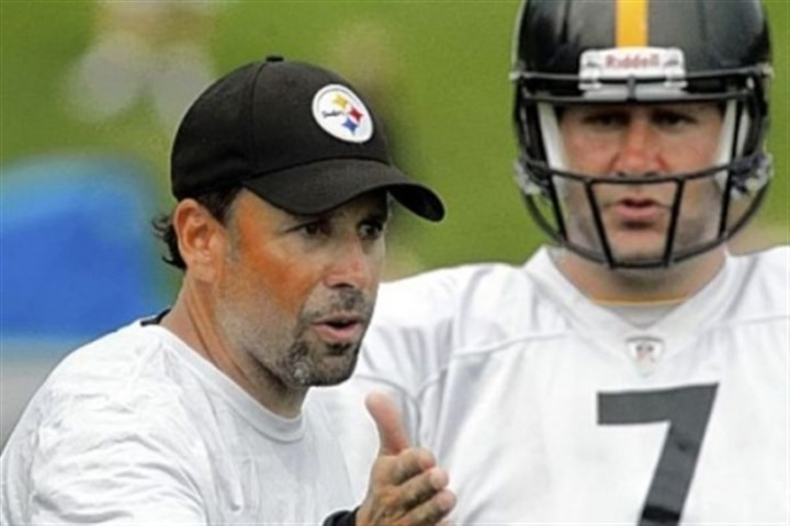 Todd Haley Steelers offensive coordinator Todd Haley, left, talks with quarterback Ben Roethlisberger during a training camp practice in Latrobe in July.
