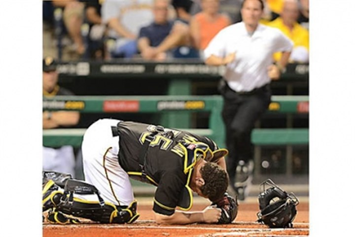 Todd Tomczyk Pirates Head Athletic Trainer Todd Tomczyk rushes out to catcher Russell Martin after being hit by a foul ball against the Athletics at PNC Park.