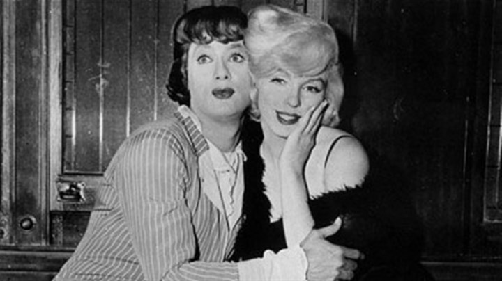 "Tony Curtis and Marilyn Monroe Marilyn played Sugar Kane Kowalczyk in Billy Wilder's ""Some Like It Hot"" (1959), voted the funniest American movie of all time by the American Film Institute, with Tony Curtis."
