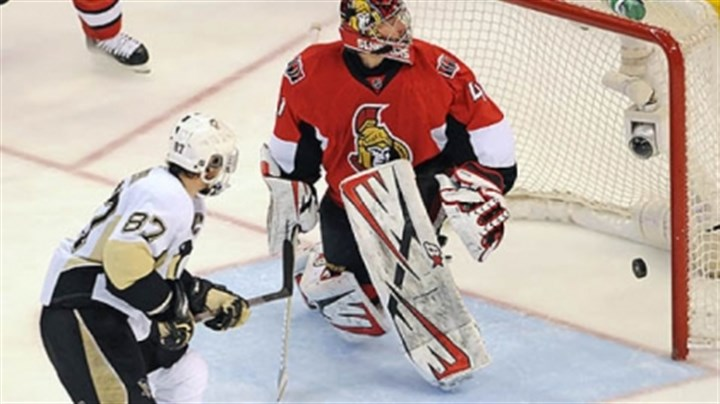 Tough road ahead Sidney Crosby, scoring on Ottawa goaltender Craig Anderson in the Eastern Conference semifinals, can expect plenty of resistance from the Bruins when the conference final series begins Saturday.