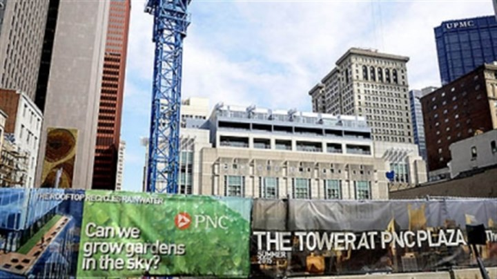 Tower at PNC Plaza is greenest large building in U.S. The new Tower at PNC Plaza building under construction on Wood Street, Downtown. The new tower will be one of the largest green buildings in the country.