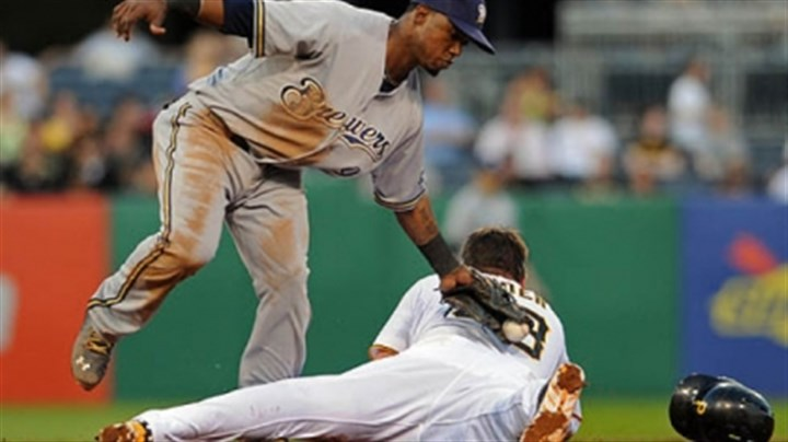 Travis Snider and Jean Segura The Pirates' Travis Snider steals second base on the Brewers' Jean Segura in the third inning Thursday night at PNC Park.