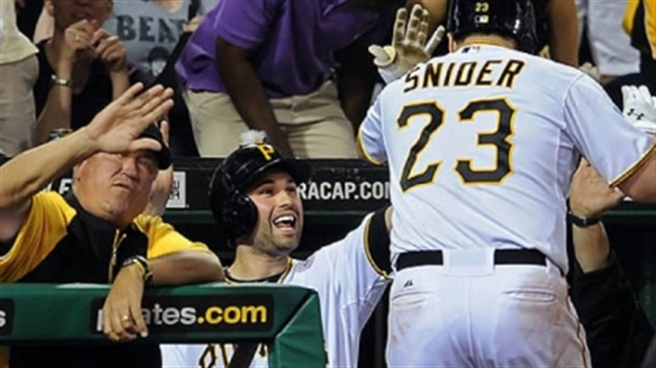 Travis Snider, Clint Hurdle and Neil Walker The Pirates' Travis Snider is congratulated by manager Clint Hurdle and Neil Walker after hitting a two-run homer against the Brewers in the fifth inning Thursday night at PNC Park.