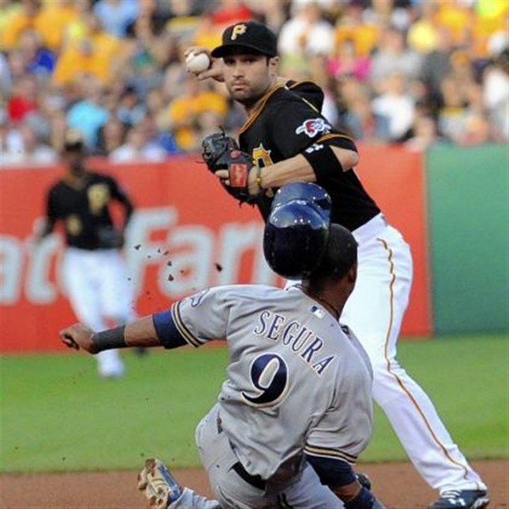 walker The Pirates' Neil Walker gets Brewers' Jean Segura in the top half of a double play in the first inning.