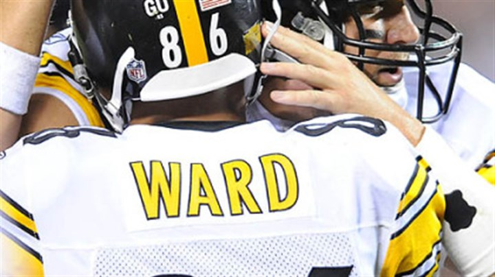 Ward Ben Roethlisberger congratulates Hines Ward after his touchdown in the second quarter.