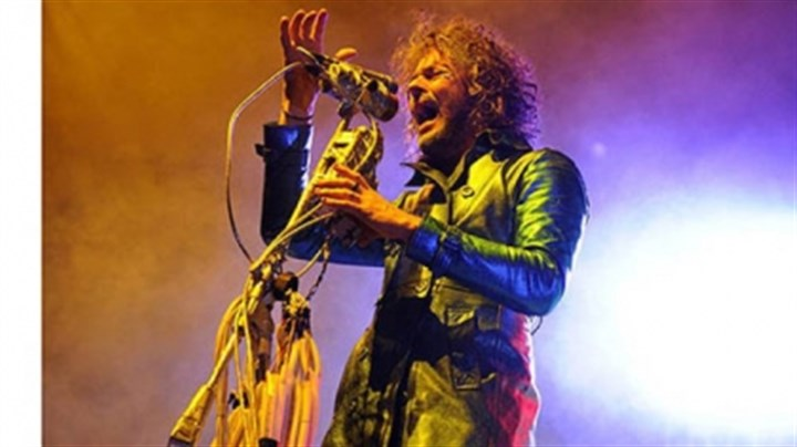 "Wayne Coyne Wayne Coyne, lead singer of the Flaming Lips, sings ""Silver Trembling Hands"" at Consol Energy Center."