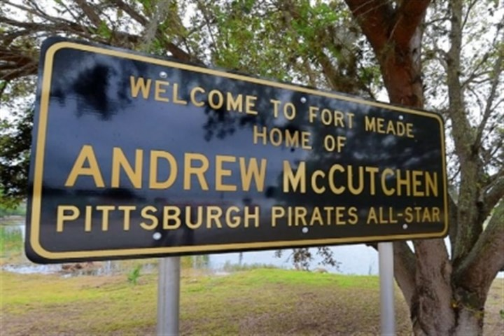 welcome sign A welcome sign on the way to Fort Meade, Fla., honors its favorite son, the Pirates' Andrew McCutchen.