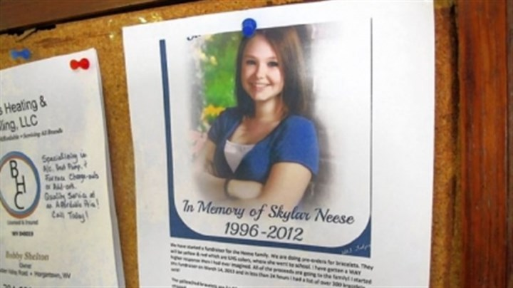 West Virginia death A flier posted in Star City, W.Va., shows 16-year-old honors student Skylar Neese.