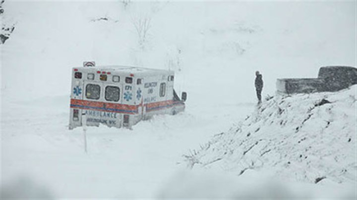 wva ambulance snow sandy An ambulance was stuck in over a foot of snow off of Highway 33 West, near Belington, West Virginia, today.