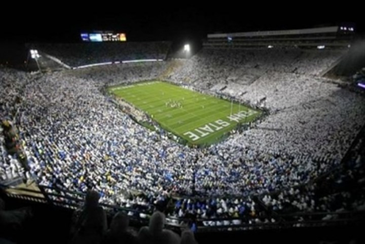 beaver stadium View of a night game at Penn State's Beaver Stadium, which seats 106,572 fans for football.