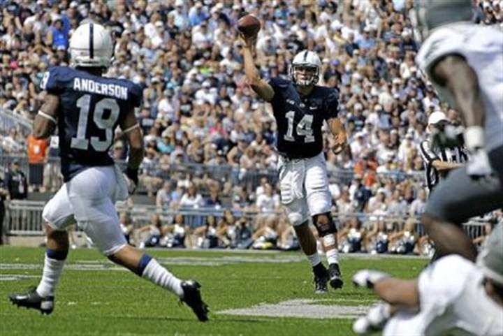 Penn State Penn State quarterback Christian Hackenberg throws to fellow freshman Richy Anderson against Eastern Michigan on Sept. 7, 2013.
