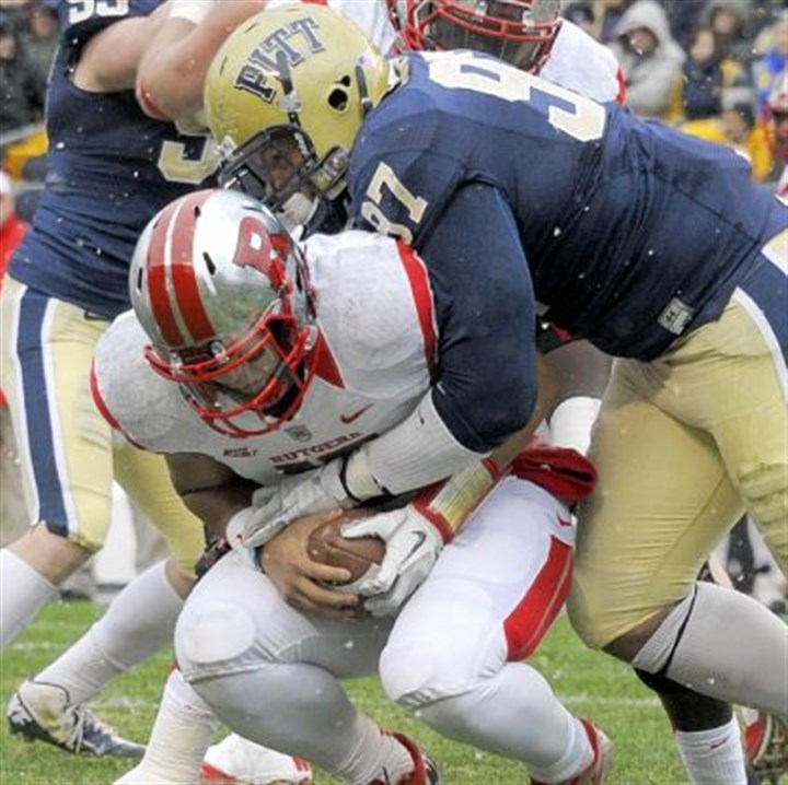 donald Pitt lineman Aaron Donald sacks Rutgers quarterback Gary Nova at Heinz Field.