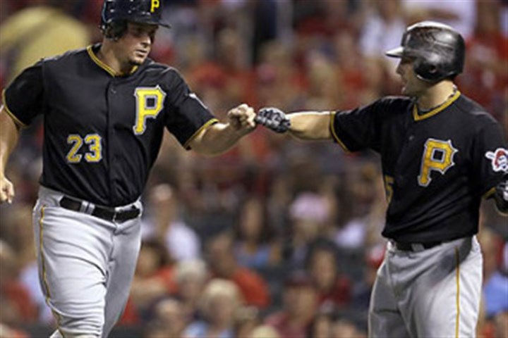 bucs1202 Travis Snider, left, is congratulated by Michael McKenry after scoring on a wild pitch against the Cardinals last season.