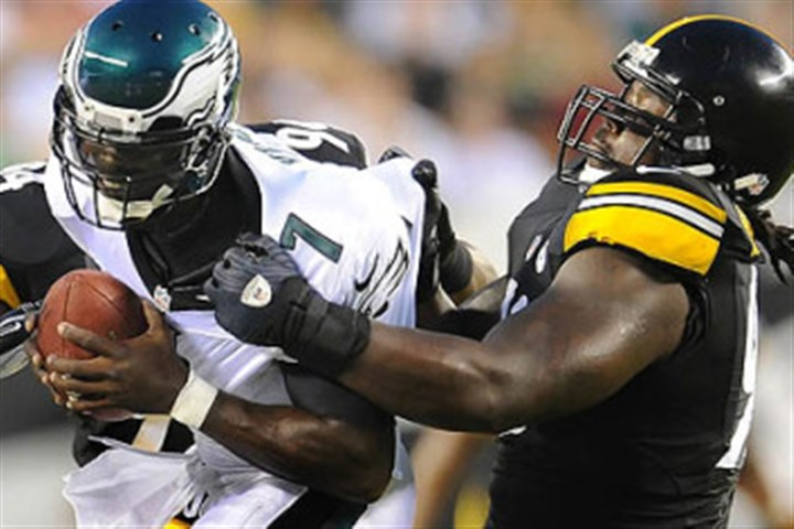 Steve McLendon Steelers nose tackle Steve McLendon sacks then-Eagles quarterback Michael Vick during a preseason game in 2012. Vick also has played for the Falcons and Jets.