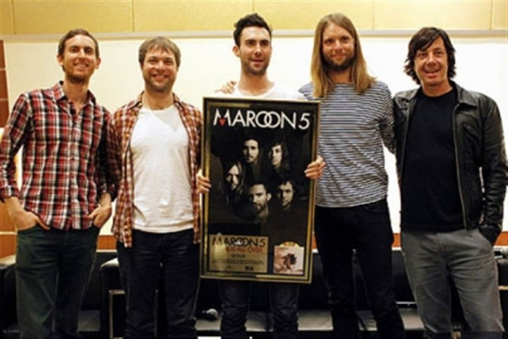 Maroon 5 Maroon 5, from left, Jesse Carmichael, Mickey Madden, Adam Levine, James Valentine and Matt Flynn, are scheduled to perform at Consol Energy Center March 13.
