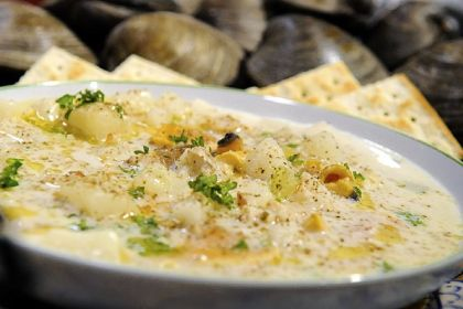 Clam chowder Clam chowder at Penn Ave. Fish Company, a reasonably priced place for Sunday brunch.