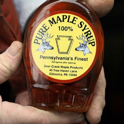 Deer Creek Maple Syrup His Deer Creek Maple Products include syrup, maple sugar, even maple mustard.