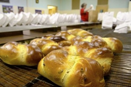 Easter bread Easter bread is packaged in sacks before being sold at Holy Redeemer Parish in Ellwood City. Approximately 1,600 loaves are made and sold each year.