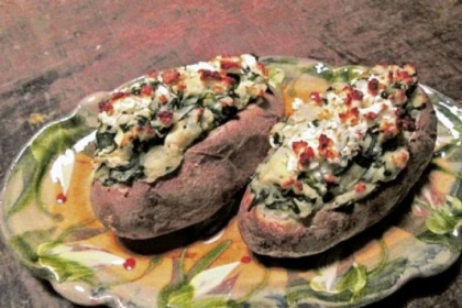 Greek-Stuffed Potatoes Greek-Stuffed Potatoes with Garlicky Spinach and Feta.