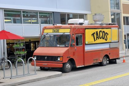 PGH Taco Truck PGH Taco Truck sells to a lunchtime crowd outside Marty's Market in the Strip District.