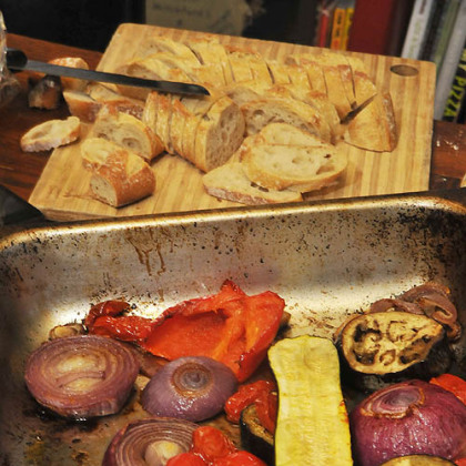Roasting vegetables Roasting vegetables.