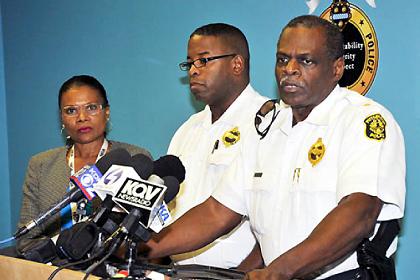 Pittsburgh police spokeswoman Diane Richard, Cmdr. Eric Holmes, Chief Nate Harper