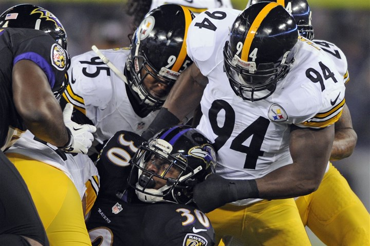 Lawrence Timmons Lawrence Timmons brings down the Raven's Bernard Pierce during the Thanksgiving game in Baltimore.