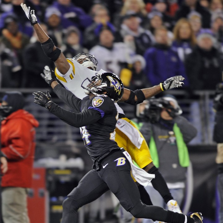 collier1129 Ravens defensive back Corey Graham breaks up a pass intended for Antonio Brown.