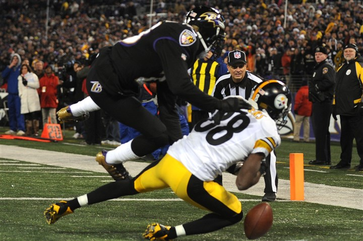 1128mhSteelersVsRavensSports15 Emmanuel Sanders fumbles a pass in the last minute of the game against Baltimore on Thanksgiving. The Ravens won, 22-20.