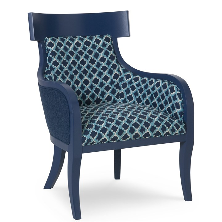 chair.jpg C.R.Laine's Iliad Chair painted in Benjamin Moore's #HC154 Pale Navy. The print on the inside is pattern Meteor Cobalt and the solid woven on the outside is pattern Paxton Cobalt.