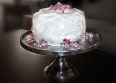 Cranberry-Vanilla Cake with Whipped-Cream Frosting.