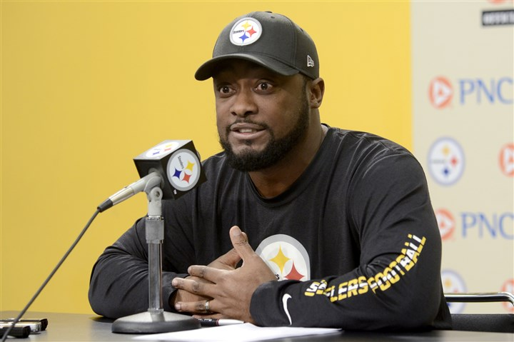 20131203arTomlin04-3 Steelers coach Mike Tomlin speaks to the media about his 'sideline blunder' during last week's Ravens game during a news conference Tuesday.