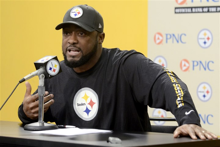 "20131203arTomlin01 Steelers coach Mike Tomlin speaks to the media Tuesday about his ""sideline blunder"" in last week's Raven's game during his weekly press conference at the Steelers' South Side training facility."