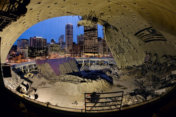 20131208arena1 A view of the city skyline from the press box during demolition of the Civic Arena.