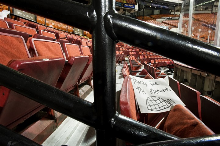 20131208arena4 A fan's tribute, left in the stands of the Civic Arena.