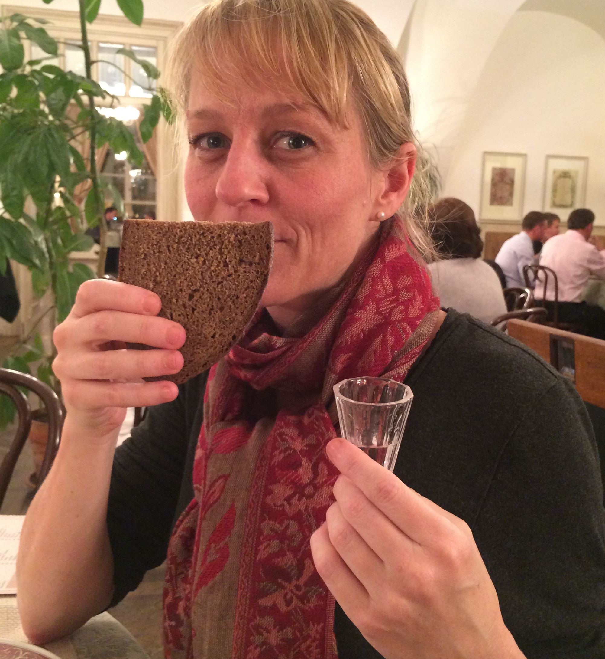 20131112horussiafood0084.jpg Jenny Eskey tests Russian advice: Sniffing black bread clears your head for more vodka.