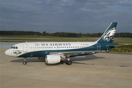 120513_plane02.jpg US Airways says they have investigated reports of the Steelers logo inserted into the logo for the Eagles on a tail of one of their planes and found reports to be false.