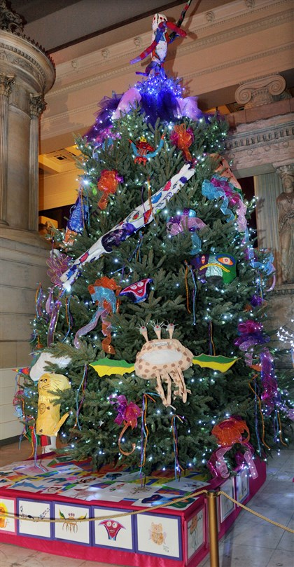 "20131204JHMagTree03-2 ""Art of Imaginative Play"" tree in the Hall of Architecture at Carnegie Museum of Art."