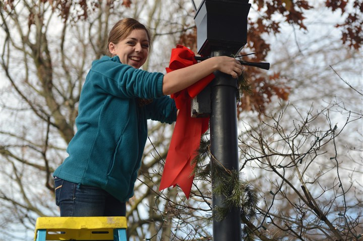 1116mhLigonierXmasWest01 Megan Palmer, a sophomore at the Ligonier High School, helps decorate the town square in November.