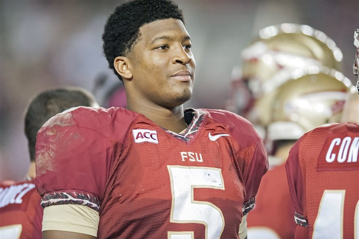 jameis1201b Jameis Winston #5 of the Florida State Seminoles rests on the sideline in the second half against the Idaho Vandals at Doak Campbell Stadium Nov. 23, 2013 in Tallahassee, Fla. The Seminoles beat the Vandals, 80-14.