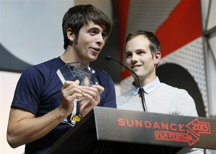 2013 Sundance Film Festival - Awards Ceremony  Rocky Braat, left, and director Steve Hoover accept the Grand Jury Prize: U.S. Documentary for Blood Brother during the 2013 Sundance Film Festival Awards Ceremony.