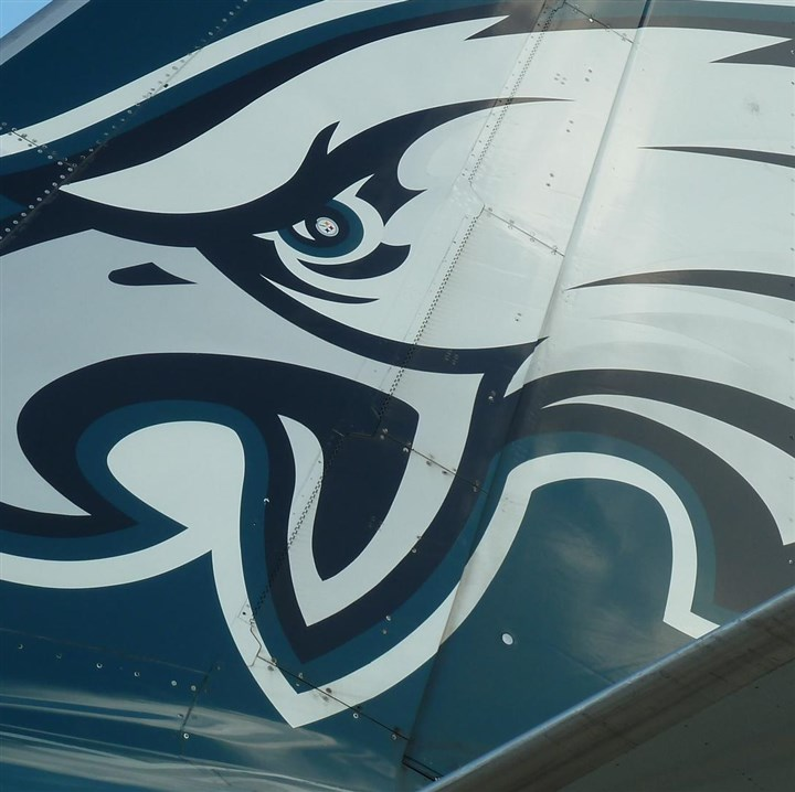 120513_plane01.JPG This photo, tweeted by Washington Post sports reporter Kent Babb and picked up by several sports websites, shows the Steelers logo inset to the eye of the Eagles logo.