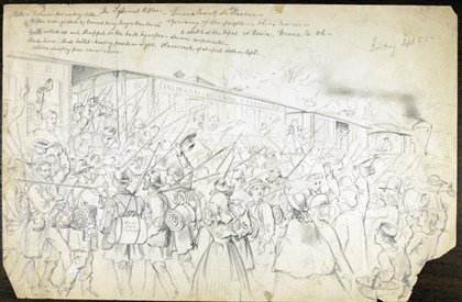 "Henri Lovie — ""Squirrel Rifles Henri Lovie — ""Squirrel Rifles: Sketch at the Depot in Zenia, Ohio,"" Sept. 5, 1862."