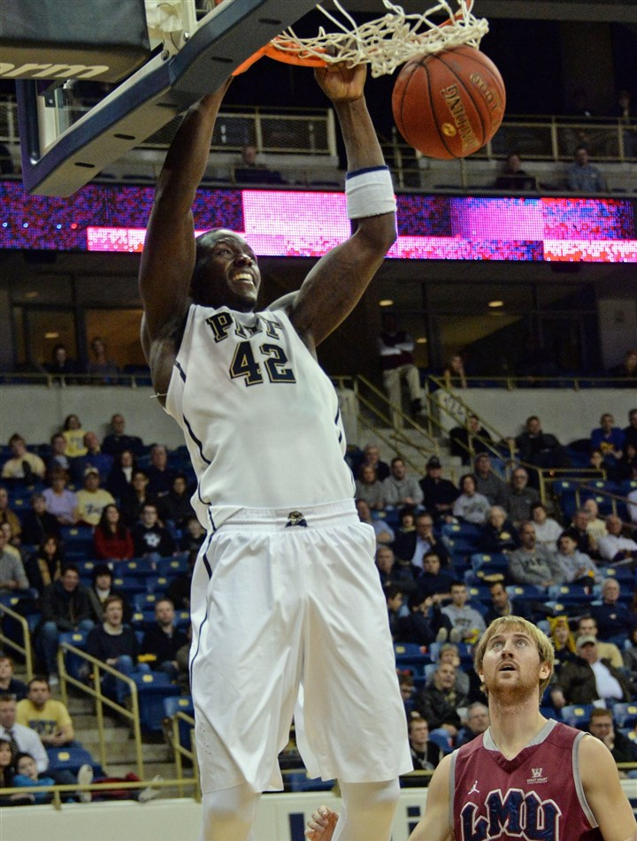 20131206mfpittsports03-18 Pitt's Talib Zanna dunks against Loyola Marymount in the second half Friday at Petersen Events Center.