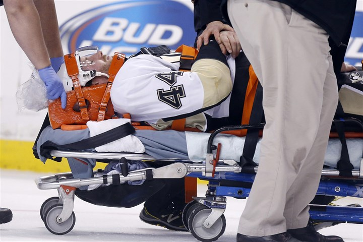 Brooks Orpik The Penguins' Brooks Orpik is taken off the ice after being injured in the first period.