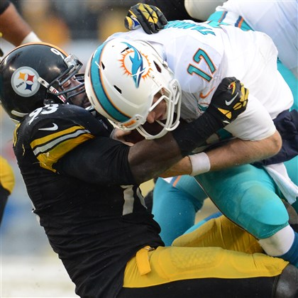 20131208pdSteelersSports13-5 Steelers OLB Jason Worilds sacks Dolphins QB Ryan Tannehill in the first quarter Sunday at Heinz Field.