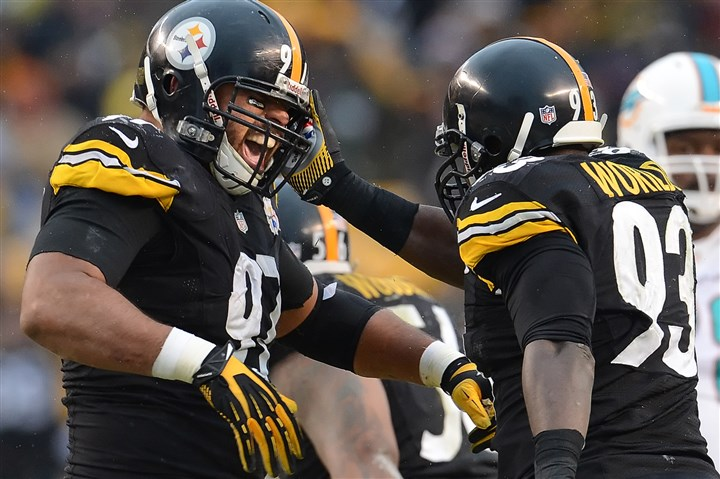 Cameron Heyward celebrates sack with Jason Worilds Cameron Heyward celebrates sack with Jason Worilds in the fourth quarter of a game against the Dolphins in December at Heinz Field.